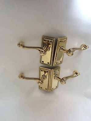 1 Pair of Reclaimed Vintage Georgian Brass Lever Door Handles