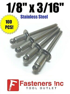 "(QTY 100) POP Rivets ALL Stainless Steel 4-3 1/8"" x 3/16"" Grip Range"