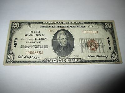 $20 1929 New Bethlehem Pennsylvania PA National Currency Bank Note Bill #4978 VF