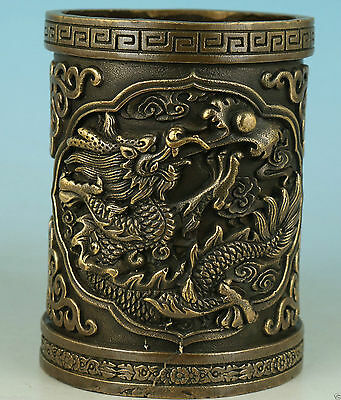 Asian Chinese Old Bronze Handmade Carved Dragon Statue Collect Brush Pot
