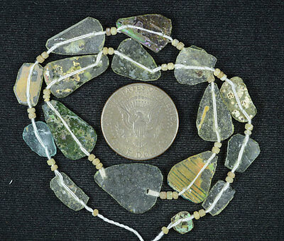Ancient Roman Glass Beads 1 Medium Strand Aqua And Green 100 -200 Bc 568