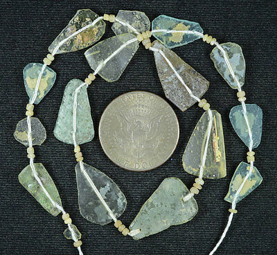 Ancient Roman Glass Beads 1 Medium Strand Aqua And Green 100 -200 Bc 572