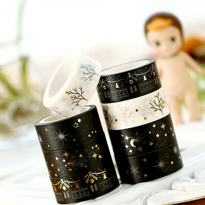 NEW Gold Foil Printing For Christmas Set Japanese Washi Paper Tape 15mmX5m Hi
