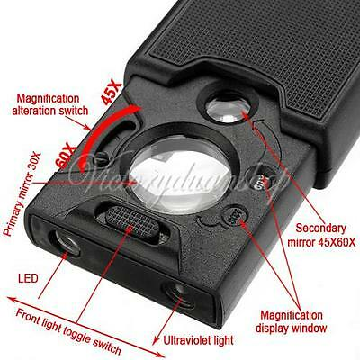30x 45x 60x Led Light Jeweller Magnifying Optical Glass Magnifier Loupe Len New