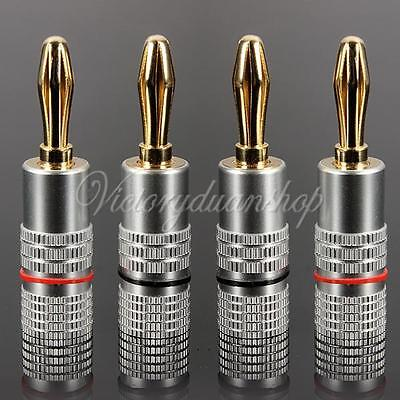 4 X Gold Plated Screw Banana Plug Connector 4mm Speaker Wire Cable