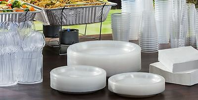 Clear Plastic Party Plates Bowls Cutlery Half Pint Wine Glasses