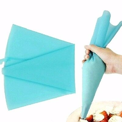 Silicone Fondant Cake Cream Bags Piping Icing Tip Tool Decorating Reusable Blue