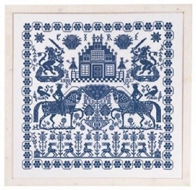 Permin Blue Sampler (Horses, Lions, Buildings) Cross Stitch Chart #154400- 331x3
