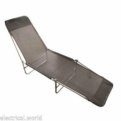 Portable Black Textoline Adjustable Sun Lounger Garden Chair - Beach, Camping