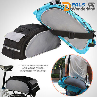 Bicycle Bag Bike Rear Pack Seat Cycling Pannier Waterproof Rack Carrier 13L Hot