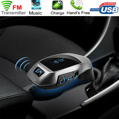 Bluetooth wireless Car MP3 Music FM Wireless Transmitter USB LCD Charger Kit UK