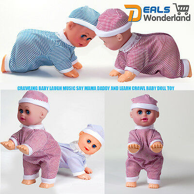 Crawling Baby Laugh Music Say Mama Daddy And Learn Crawl Baby Doll Toy HOT