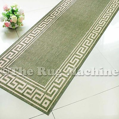SUMMER INDOOR/OUTDOOR GREEK KEY GREEN MODERN FLOOR RUG RUNNER 60x230cm **NEW**