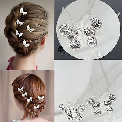 20x Butterfly Wedding Hairpin Bridesmaid Crystal Diamante Bridal Hair Clips Grip