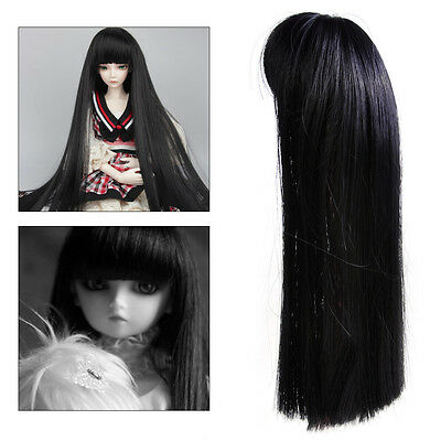 Doll Long Black Straight Hair Wig Hairpiece for 1/6 BJD SD DZ LUTS DOD Dollfie