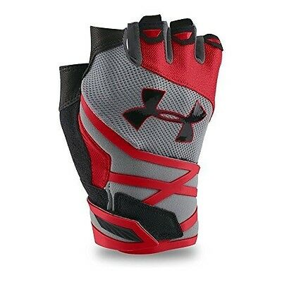 Under Armour Men's Resistor Gloves, Small, Steel/Red