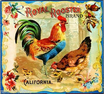 Riverside Royal Rooster Brand Chickens Orange Citrus Fruit Crate Label Art Print