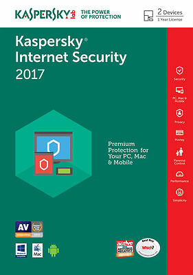Kaspersky Internet Security 2017 /  2 PC / 1 Year, Multi Device ,NO CD,DOWNLOAD