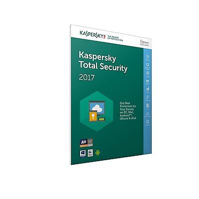 Kaspersky Total Security 2017 , Multi-device 3 PC/1 Year , NO CD,Anti-virus,Pure