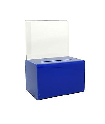 SourceOne Donation Box with Sign Holder and Lock, Blue - SMALL