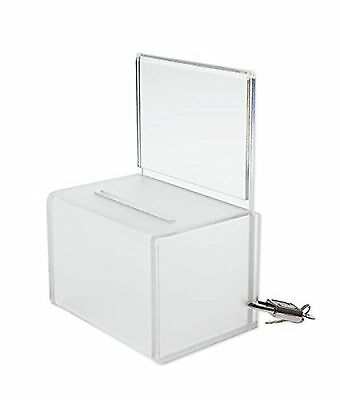 SourceOne Mini Frosted 4 inch wide Donation Box Ballot Coin collection Box
