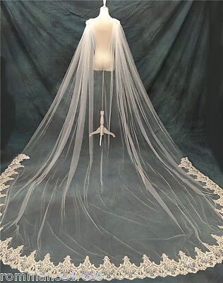 White Ivory Cathedral Bridal Cape Cloak Sequin Lace Long Wedding Dress Accessory