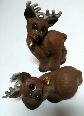 Reindeer Figurines Figure Statue with Bell Laying Standing Set of 2 Painted VTG