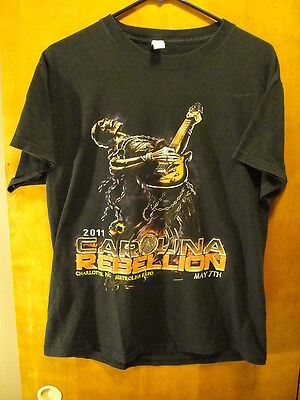 CAROLINA REBELLION Inaugural Year 2011 Skull Playing Guitar T Shirt MED A7X +