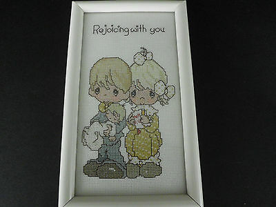 Vintage Precious Moments 'rejoicing With You' Finished Needlepoint Pro Framed