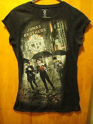JONAS BROTHERS Official Concert Tour Capped Sleeve T Shirt Black Juniors XL