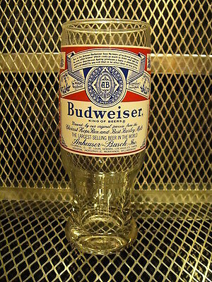 "BUDWEISER ~ Vintage ~ LABEL Glass 7"" Tall EXC COND"
