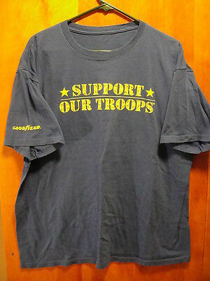 """Goodyear Tires Support Our Troops """"Give Back"""" T Shirt Large Blue Nascar"""