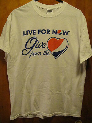 PEPSI ~ Large ~ LIVE FOR NOW ~ GIVE FROM THE HEART ~ T Shirt