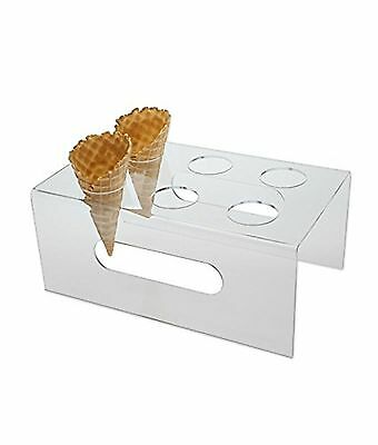 Source One Deluxe 6 Hole Clear Food Grade Acrylic Ice Cream Cone Holder With ...