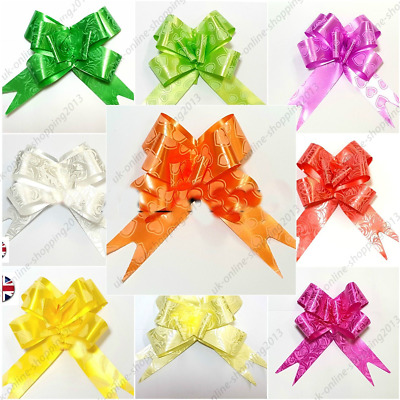 5- 50 Pull Bow Decorations Large Wedding Car Xmas Gift Wrap Floristry 10 Colours