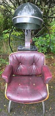 Vintage Burgundy & Wood Stylist Barber Styling Chair with Hair Dryer First Lady