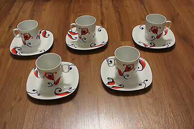 BLOCK Langenthal Switzerland Transition Flower Cups & Saucers Set of 5