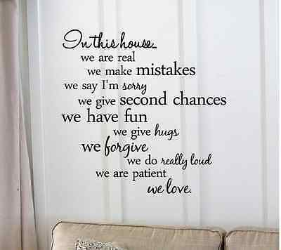 1 In this House Wall sticker decal+ FREE STICKER- FREE SHIP