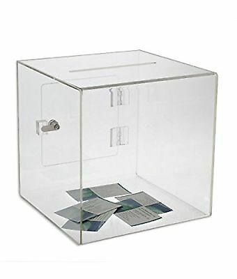 Source One 12 Inch Clear Cube Donation Box with Deluxe Rear Open Door and Cam...