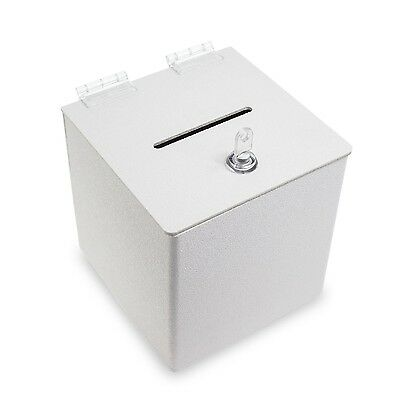 Source One White Cube Donation Box With Cam Lock Suggestion Registration Raff...