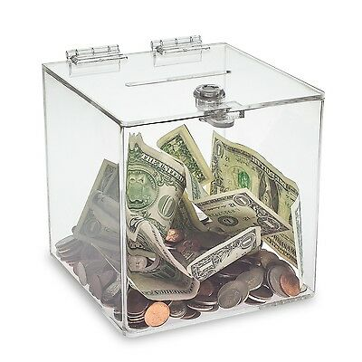 """Source One Clear 6""""  Cube Donation Box With Cam Lock Suggestion Registration"""