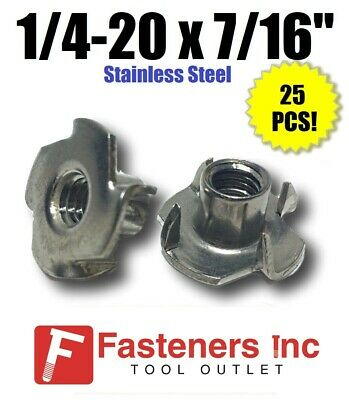 """(Qty 25) 1/4-20 x 7/16"""" Long Barrel Stainless Steel T-Nut Tee Nut 4 Prong"""