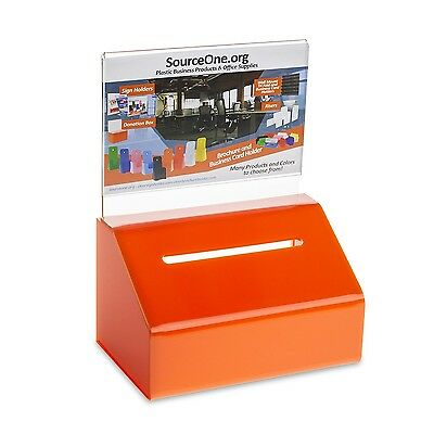Source One Orange Heavy Duty Small Donation / Ballot Box with Lock and Sign H...