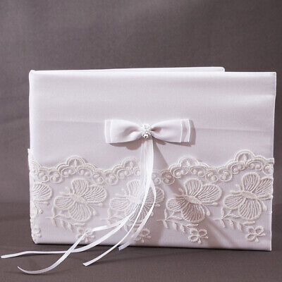 Livre d'Or Mariage Blanc Noeud Broderie Papillon NEUF