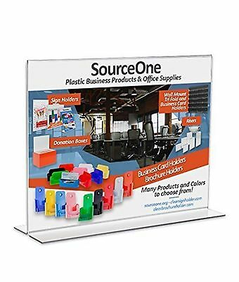 Source One 11 x 8.5 Inches Sign Holder Upright Clear Acrylic Display Ad Frame...