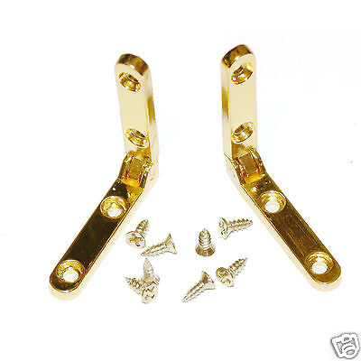 Pair of Adamventure gold coloured alloy side rail box hinges 30mm x 5mm