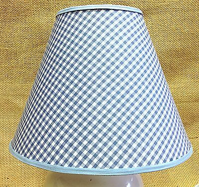 Blue white gingham check handmade lamp shade lampshade 2699 blue white gingham check handmade lamp shade lampshade aloadofball Image collections