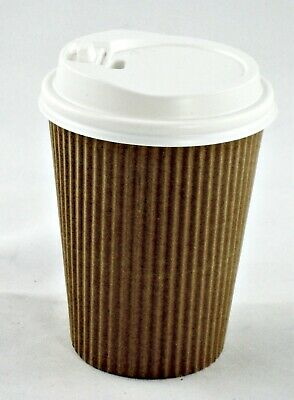 100 x 14 oz 400 ml Triple Ripple Wall Kraft Paper Coffee Cups + Lids Takeaway