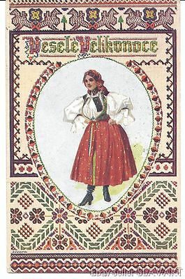 POSTCARD old vintage Czech Easter girl Moravian folk costume Jedlicka egg KROJ