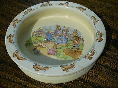 Bunnykins by Royal Doulton - Baby Dish - Bunnykins Gardening - Cracked & Chipped